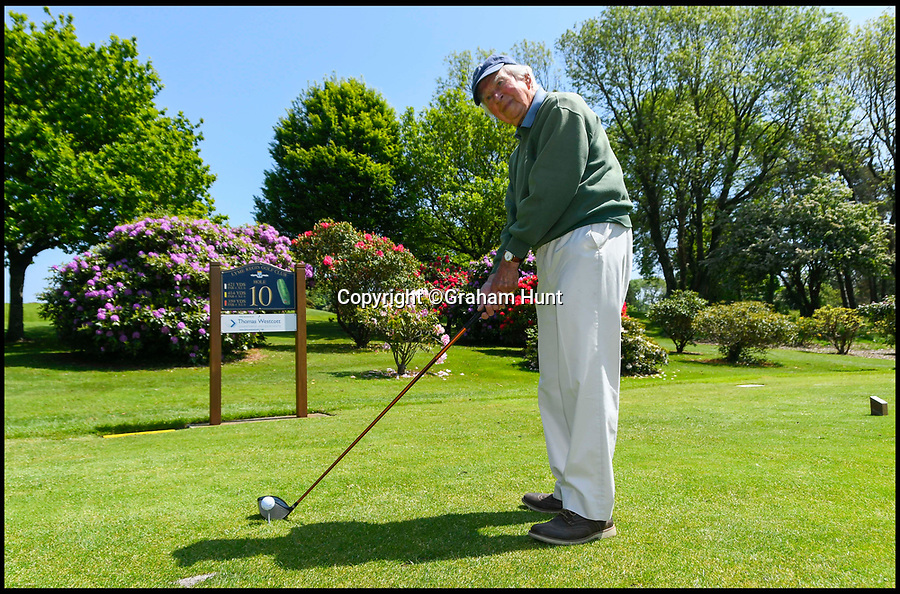 BNPS.co.uk (01202 558833)<br /> Pic: GrahamHunt/BNPS<br /> <br /> Lindley Baker on the 10th tee at Lyme Regis Golf Club, Dorset.<br /> <br /> One of Britain's oldest golfers has swung himself into the record books at the age of 97.<br /> <br /> Sprightly Lindley Baker has been a member of the same Dorset club since 1937, making him the country's longest-paying golf club member. <br /> <br /> Since joining 80 years ago Mr Baker has struck the ball a whopping 330,000 times and completed more than 4,000 rounds. <br /> <br /> The par 71 Lyme Regis Golf Club course is 5,688 yards long, meaning that over the years Mr Baker has walked nearly 13,000 miles there, which is half way around the world.