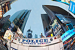 Times Square with parked Police Emergency Service Truck, Manhattan, NYC, USA, Fisheye 180 degree view, 2011-06-27
