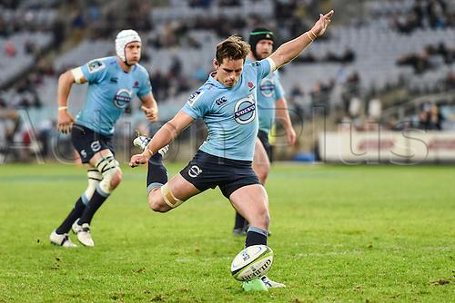 23.05.2015.  Sydney, Australia. Super Rugby. NSW Waratahs versus the Crusaders. Waratahs fly half Bernard Foley kicks a convertion from the try. The Waratahs won 32-22.