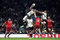 Tevita Cavubati of Fiji claims the ball in the air. Rugby World Cup Pool A match between England and Fiji on September 18, 2015 at Twickenham Stadium in London, England. Photo by: Patrick Khachfe / Onside Images