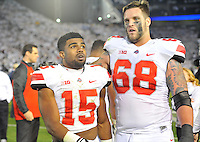 25 October 2014:  Ohio State RB Ezekiel Elliott (15) and OL Taylor Decker (68). The Ohio State Buckeyes defeated the Penn State Nittany Lions 31-24 in 2 OTs at Beaver Stadium in State College, PA.