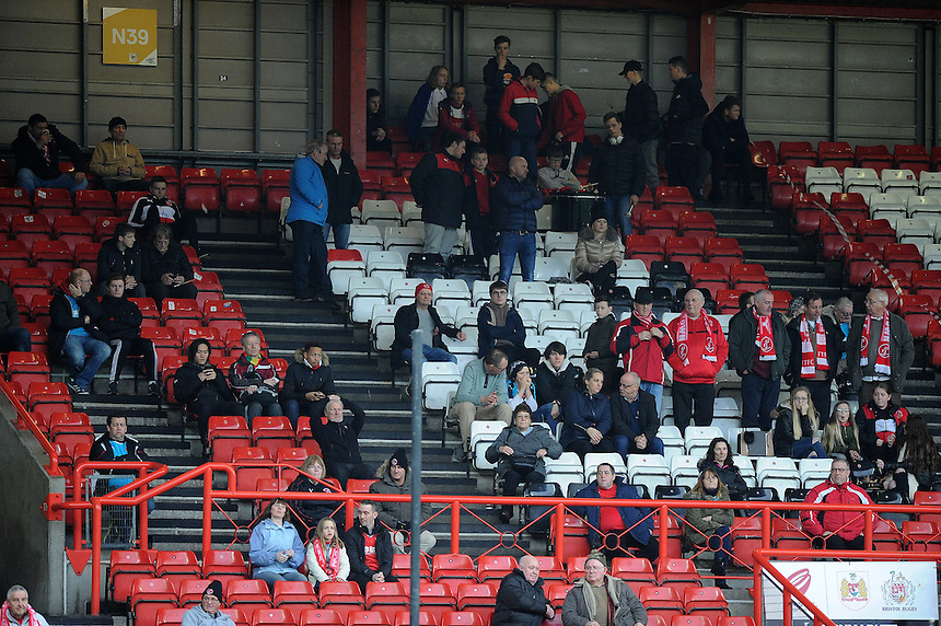 Fleetwood Town Fans at Ashton Gate for the Match against Bristol City <br /> <br /> Photographer Ashley Crowden/CameraSport<br /> <br /> Emirates FA Cup Third Round - Bristol City v Fleetwood Town - Saturday 7th January 2017 - Ashton Gate - Bristol<br />  <br /> World Copyright &copy; 2017 CameraSport. All rights reserved. 43 Linden Ave. Countesthorpe. Leicester. England. LE8 5PG - Tel: +44 (0) 116 277 4147 - admin@camerasport.com - www.camerasport.com
