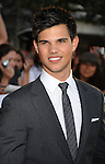 "LOS ANGELES, CA. - June 24: Taylor Lautner arrives to the premiere of ""The Twilight Saga: Eclipse"" during the 2010 Los Angeles Film Festival at Nokia Theatre L.A. Live on June 24, 2010 in Los Angeles, California."