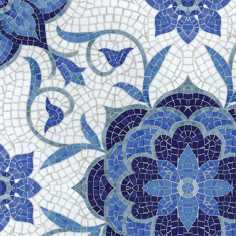 Aurelia, a hand-cut mosaic, shown in Lapis Lazuli, Iolite, Mica, Absolute White, and Blue Spinel Sea Glass™ is part of the Sea Glass™ Collection by New Ravenna.