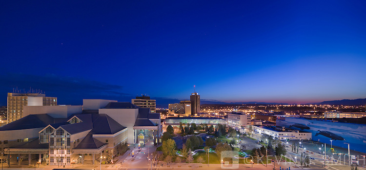 Town Square and the Performing Arts Center at  twilight, late summer, downtown Anchorage, Southcentral Alaska, USA.