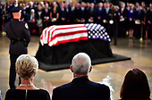 Vice President of the United Staes Mike Pence and wife Karen Pence view the casket of former Senator John McCain in the Capitol Rotunda where he will lie in state at the U.S. Capitol, in Washington, DC on Friday, August 31, 2018. McCain, an Arizona Republican, presidential candidate and war hero died August 25th at the age of 81. He is the 31st person to lie in state at the Capitol in 166 years.    Photo by Kevin Dietsch/UPI
