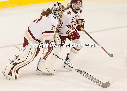 Katie Burt (BC - 33), Lexi Bender (BC - 21) - The Boston College Eagles defeated the visiting UConn Huskies 4-0 on Friday, October 30, 2015, at Kelley Rink in Conte Forum in Chestnut Hill, Massachusetts.