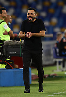 25th July 2020; Stadio San Paolo, Naples, Campania, Italy; Serie A Football, Napoli versus Sassuolo; Roberto De Zerbi, coach US Sassuolo looks happy with the progress