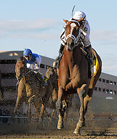Gemologist (white cap), ridden by Javier Castellano, outlasts Alpha, ridden by Ramon Dominguez, to win the 88th running of the Wood Memorial at Aqueduct Racetrack in Ozone Park, New York on Wood Memorial Day on April 7, 2012. Gemoloigist is owned by WinStar Farms and trained by Todd Pletcher.