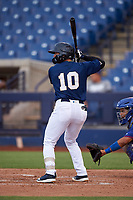 AZL Brewers Blue Danny Casals (10) at bat during an Arizona League game against the AZL Rangers on July 11, 2019 at American Family Fields of Phoenix in Phoenix, Arizona. The AZL Rangers defeated the AZL Brewers Blue 5-2. (Zachary Lucy/Four Seam Images)