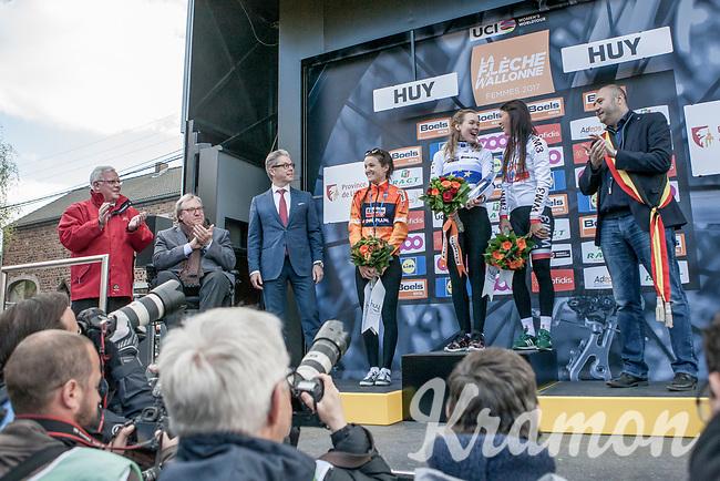 Women Elite podium:<br /> <br /> 1/ Anna van der Breggen (NED/Boels Dolmans)<br /> 2/ Elizabeth Deignan (GBR/Boels Dolmans)<br /> 3/ Kasia Niewiadoma (POL)<br /> <br /> La Fl&egrave;che Wallonne Feminine 2017 (1.WWT)<br /> One Day Race: Huy &rsaquo; Mur de Huy (120km)