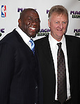 "Larry Bird & Magic Johnson pictured at the ""Magic/Bird"" Opening Night Arrivals at the Longacre Theatre in New York City on April 11, 2012 © Walter McBride / WM Photography  Ltd."