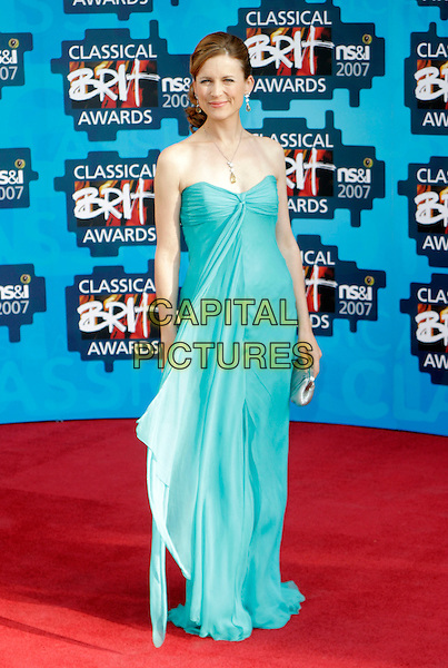 KATIE DERHAM.The Classical Brit Awards 2007, Royal Albert Hall, London, England. .May 3rd, 2007.full length green dress blue turquoise strapless silver clutch purse.CAP/AH.©Adam Houghton/Capital Pictures