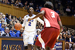 17 November 2013: Duke's Alexis Jones (2) and Alabama's Khadijah Carter (3). The Duke University Blue Devils played the University of Alabama Crimson Tide at Cameron Indoor Stadium in Durham, North Carolina in a 2013-14 NCAA Division I Women's Basketball game. Duke won the game 92-57.
