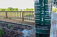 A rain gauge near the media center shows 1.25 inches of rainfall by late Friday afternoon during round 1 of  the Volunteers of America LPGA Texas Classic, at the Old American Golf Club in The Colony, Texas, USA. 5/4/2018.<br /> Picture: Golffile | Ken Murray<br /> <br /> <br /> All photo usage must carry mandatory copyright credit (&copy; Golffile | Ken Murray)