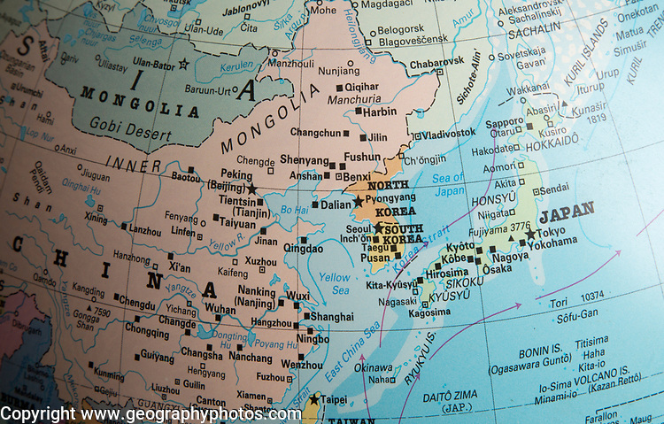 East Asia map on a globe focused on Japan, North and South Korea
