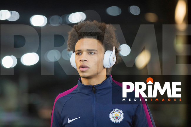 Leroy Sane of Manchester City arrives for the EPL - Premier League match between Swansea City and Manchester City at the Liberty Stadium, Swansea, Wales on 13 December 2017. Photo by Mark  Hawkins / PRiME Media Images.