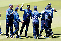 Imran Qayyum is mobbed after taking the wicket of James Vince during the Royal London One Day Cup Final between Kent and Hampshire at Lords Cricket Ground, London, on June 30, 2018