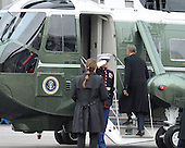 Former President Barack Obama boards a helicopter to Joint Base Andrews after the inauguration on January 20, 2017 in Washington, D.C.  Trump became the 45th President of the United States.    <br /> Credit: Kevin Dietsch / Pool via CNP