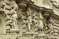 Caryatids of putti on the neo-Baroque facade of a building in the Old Town of Prague, Czech Republic. The historic centre of Prague was declared a UNESCO World Heritage Site in 1992. Picture by Manuel Cohen