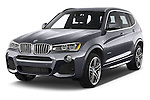 2017 BMW X3 xDrive28d 5 Door SUV Angular Front stock photos of front three quarter view