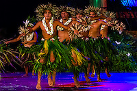 Tahina no Uturoa dance group performing during Heiva i Tahiti (July cultural festival), Place Toata, Papeete, Tahiti, French Polynesia.