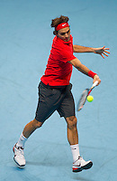 Roger Federer (SUI) (2) against Novak Djokovic (SRB) (3) in the semi-finals. Roger Federer beat Novak Djokovic 6-1 6-4..International Tennis - Barclays ATP World Tour Finals - O2 Arena - London - Day 7 - Sat 27 Nov 2010..© Frey - AMN Images, Level 1, Barry House, 20-22 Worple Road, London, SW19 4DH.Tel - +44 208 947 0100.Email - Mfrey@advantagemedianet.com.Web - www.amnimages.photshelter.com