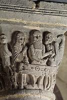 """Europe/France/Auvergne/63/Puy-de-Dôme/Besse-en-Chandesse: L'église Saint-André (architecture romane) - Détail Chapiteau représentant """"la parabole du mauvais riche"""""""