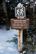 Appalachian Trail - Madison Gulf Trail sign near the Auto Road during the winter months in the White Mountains, New Hampshire USA.