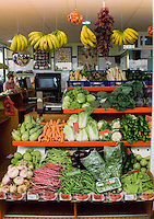 Vegetables and fruits on display in a market..Santa Cruz market, Tenerife,