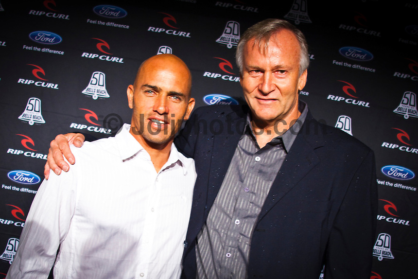 BELLS BEACH, Victoria/Australia (Friday, April 22, 2011) - Kelly Slater (USA) and Simon Anderson (AUS).  Last night celebrated 50-years of competitive surfing at the Rip Curl Pro and the Bells Beach Easter Rally at Bells Beach, Australia's ancestral home of surfing. To honour this milestone a 50 th Anniversary Surfers Ball was held at Surfworld in Torquay, with some of surfing's biggest names in attendance...Iconic names of the sport included Nat Young (AUS), four times World Surfing Champion Mark Richards(AUS), seven times World Surfing Champion Layne Beachley (AUS), two  times World Surfing Champion Tom Carroll (AUS), Damien Hardman (AUS), four times World Surfing Champion Stephanie Gilmore (AUS), former World Surfing Champion Mark Occhilupo (AUS), trhee times World Surfing Champion Tom Curren (USA) and  current ten times World Surfing Champion Kelly Slater  (USA) were on hand to pay homage to the longest running surfing event in the world. . - Photo: joliphotos.com