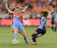 Houston Texas - Casey Short (6) of the Chicago Red Stars attempts to steal the ball from Kealia Ohai (7) of the Houston Dash in the first half on Saturday, April 16, 2016 at BBVA Compass Stadium in Houston Texas.  The Houston Dash defeated the Chicago Red Stars 3-1.