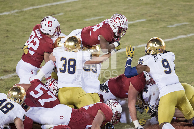 STANFORD, CA-November 28, 2015- Stanford defeats Notre Dame 38-36 in the last 30 seconds of the regular season at Stanford Stadium.