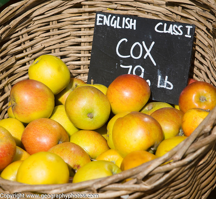 Cox English apples for sale in wicker basket