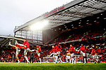 Manchester United players warm up during the UEFA Europa League Quarter Final 2nd Leg match at Old Trafford, Manchester. Picture date: April 20th, 2017. Pic credit should read: Matt McNulty/Sportimage
