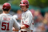 Firstbaseman Cameron Seitzer #33 of the Oklahoma Sooners at first following a base hit against the Texas Longhorns in NCAA Big XII baseball on May 1, 2011 at Disch Falk Field in Austin, Texas. (Photo by Andrew Woolley / Four Seam Images)