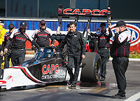 Feb 11, 2019; Pomona, CA, USA; Crew members for NHRA top fuel driver Billy Torrence during the Winternationals at Auto Club Raceway at Pomona. Mandatory Credit: Mark J. Rebilas-USA TODAY Sports