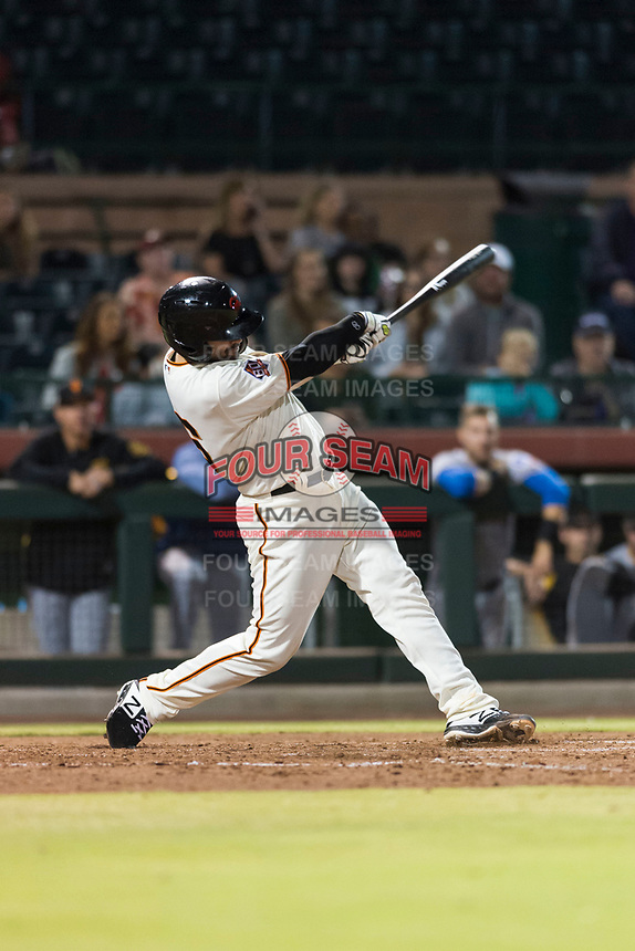 Scottsdale Scorpions catcher Matt Winn (16), of the San Francisco Giants organization, swings at a pitch during an Arizona Fall League game against the Surprise Saguaros at Scottsdale Stadium on October 15, 2018 in Scottsdale, Arizona. Surprise defeated Scottsdale 2-0. (Zachary Lucy/Four Seam Images)