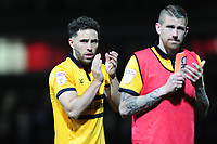 Robbie Willmott of Newport County applauds the fans at the final whistle during the Sky Bet League Two Play-off Semi Final: First Leg match between Newport County and Mansfield Town at Rodney Parade in Newport, Wales, UK.  Thursday 09 May 2019