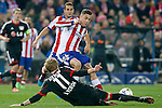 Atletico de Madrid's Jose Maria Gimenez (t) and Bayer 04 Leverkusen's Stefan Kiessling during Champions League 2014/2015 match.March 16,2015. (ALTERPHOTOS/Acero)