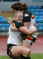 Picture by Paul Currie/SWpix.com - 07/10/2017 - Rugby League - Women's Super League Grand Final - Bradford Bulls v Featherstone Rovers - Regional Arena, Manchester, England - Charlotte Booth of Bradford Bulls celebrates scoring the 3rd try