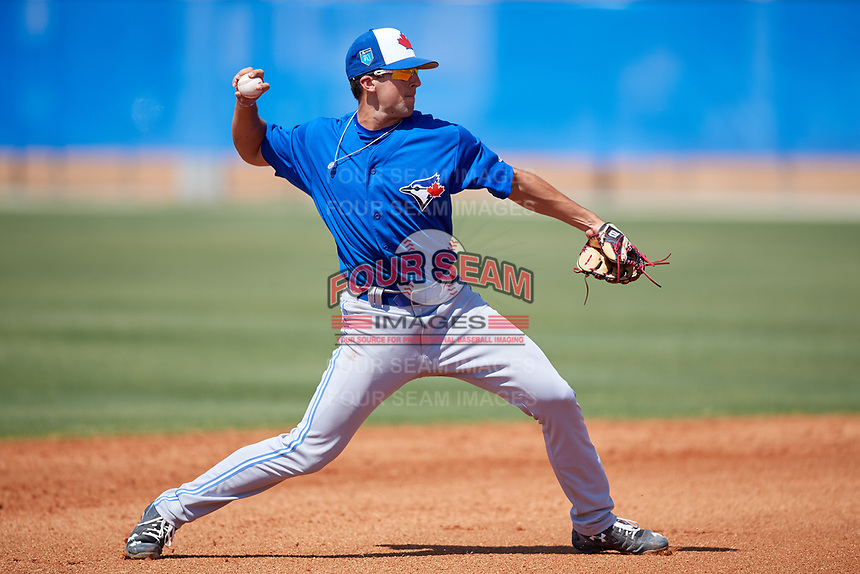 Toronto Blue Jays Kevin Smith (10) during a Minor League Spring Training game against the New York Yankees on March 18, 2018 at Englebert Complex in Dunedin, Florida.  (Mike Janes/Four Seam Images)