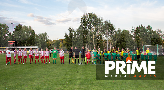 The teams pre match during the 2018/19 Pre Season Friendly match between Watford Ladies and Stevenage Ladies FC at Gaywood Park, Hempstead Road, England on 16 August 2018. Photo by Andy Rowland.