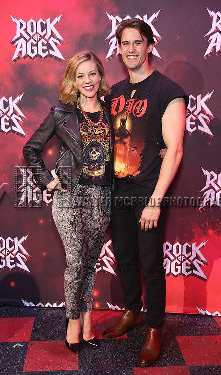"""Kirsten Scott and CJ Eldred during the tech rehearsal for """"Rock of Ages"""" 10th Anniversary Production on June 13, 2019 at the New World Stages in New York City."""