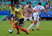 SALVADOR – BRASIL, 23-06-2019:Radamel Falcao de Colombia disputa el balón con Rodrigo Rojas de Paraguay durante partido de la Copa América Brasil 2019, grupo B, entre Colombia y Paraguay jugado en el Arena Fonte Nova de Salvador, Brasil. /Radamel Falvcao of Colombia vies for the ball with Junior Alonso of Paraguay during the Copa America Brazil 2019 group B match between Colombia and Paraguay played at Fonte Nova Arena in Salvador, Brazil. Photos: VizzorImage / Julian Medina / Cont /