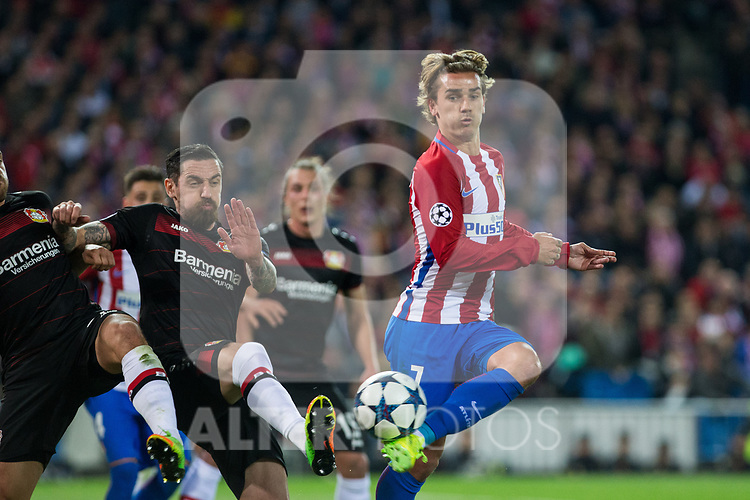Aleksandar Dragovic of Bayer 04 Leverkusen competes for the ball with -q7- of Atletico de Madrid during the match of Uefa Champions League between Atletico de Madrid and Bayer Leverkusen at Vicente Calderon Stadium  in Madrid, Spain. March 15, 2017. (ALTERPHOTOS / Rodrigo Jimenez)
