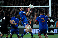 France's Paul Guabrillagues takes a restart during the Steinlager Series international rugby match between the New Zealand All Blacks and France at Eden Park in Auckland, New Zealand on Saturday, 9 June 2018. Photo: Dave Lintott / lintottphoto.co.nz