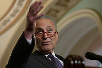 United States Senate Minority Leader Chuck Schumer (Democrat of New York) speaks at a press conference following weekly policy luncheons on Capitol Hill in Washington D.C., U.S. on July 30, 2019. Credit: Stefani Reynolds/CNP/AdMedia