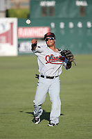 Jorge Flores (1) of the Visalia Rawhide throws before a game against the Lancaster JetHawks at The Hanger on August 9, 2017 in Lancaster, California. Lancaster defeated Visalia, 7-4. (Larry Goren/Four Seam Images)