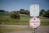 cycling route signage for the Paterroute <br /> <br /> cycling hotspots & impressions in the Vlaamse Ardennen (Flemish Ardennes) along the 181km Spartacus (Chasing Cancellara) cycling route<br /> <br /> Cycling In Flanders <br /> Flanders Tourist Board<br /> <br /> ©kramon